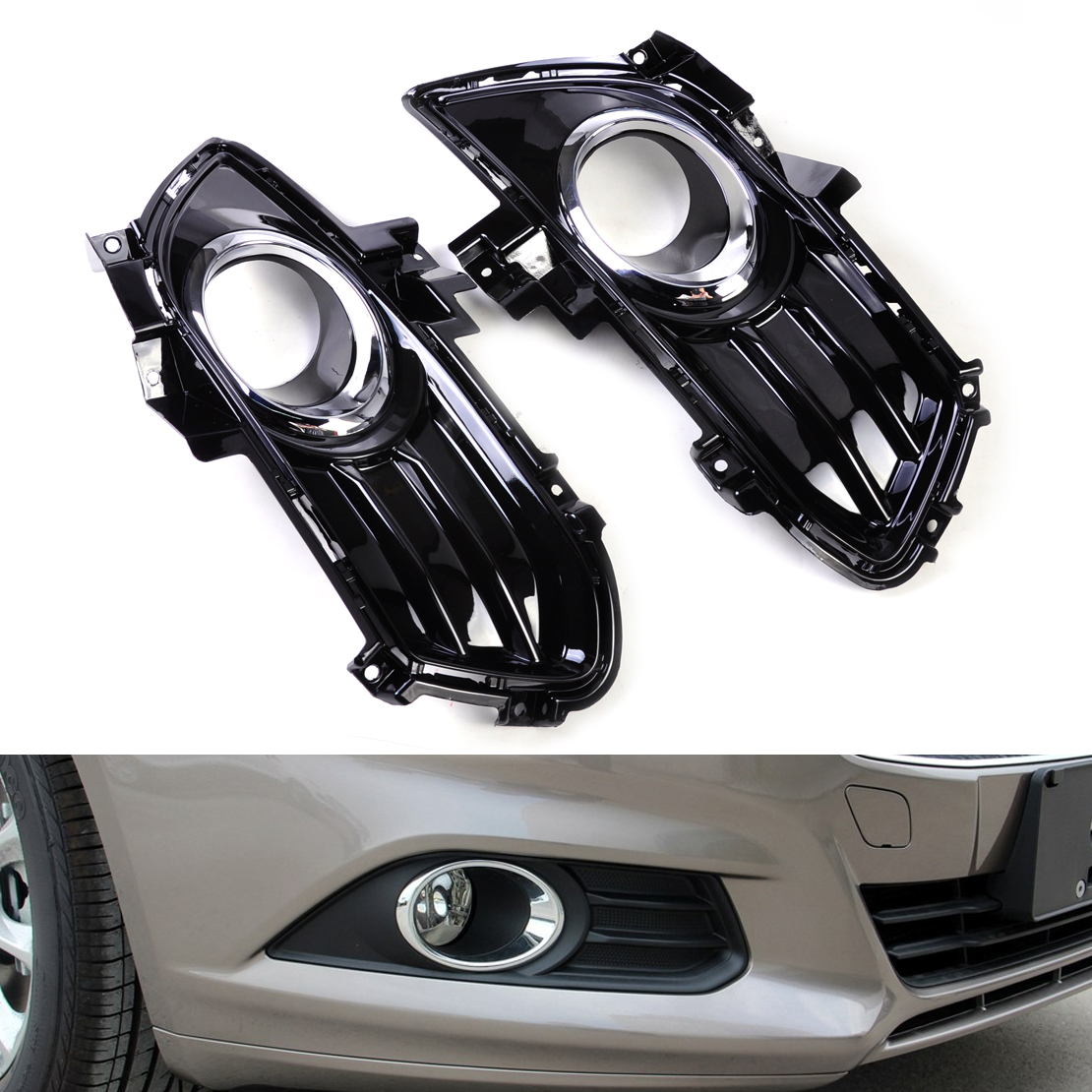 DWCX New Gloss Black Fog Light Lamp Grill Grille Cover DS73-19952CAW SL666 Fit for Ford Fusion Mondeo 2013 2014 2015 for ford fusion mondeo 2013 2014 2015 control glass water panel protective film stickers carbon cover