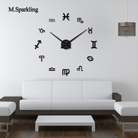 M.Sparkling digital wall clock large creative courtyard mirrior clock acrylic DIY bedroom wall clock stickers unique gifts