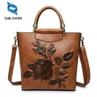 Women Designer Leather Hobo Bucket Bags Large Embroidery Embossing Printing Retro Floral Handbag Luxury Tote Bag