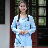 High Quality Blue Lady Long Slim Cotton Linen Blouse Chinese Women Vintage Button Shirt Flower Tops
