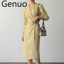 2019 Cotton Linen Plaid Summer Dress Korean design One piece Open Slit Bandage Slim INS  Prairie Chic Women Casual Midi
