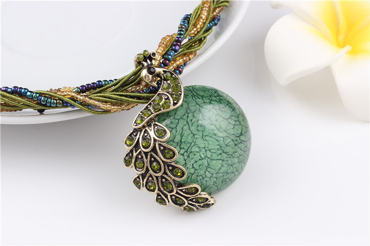 ZOSHI Blue natural crystal stone pendant necklace fashion peacock pendant necklace for women jewelry 20