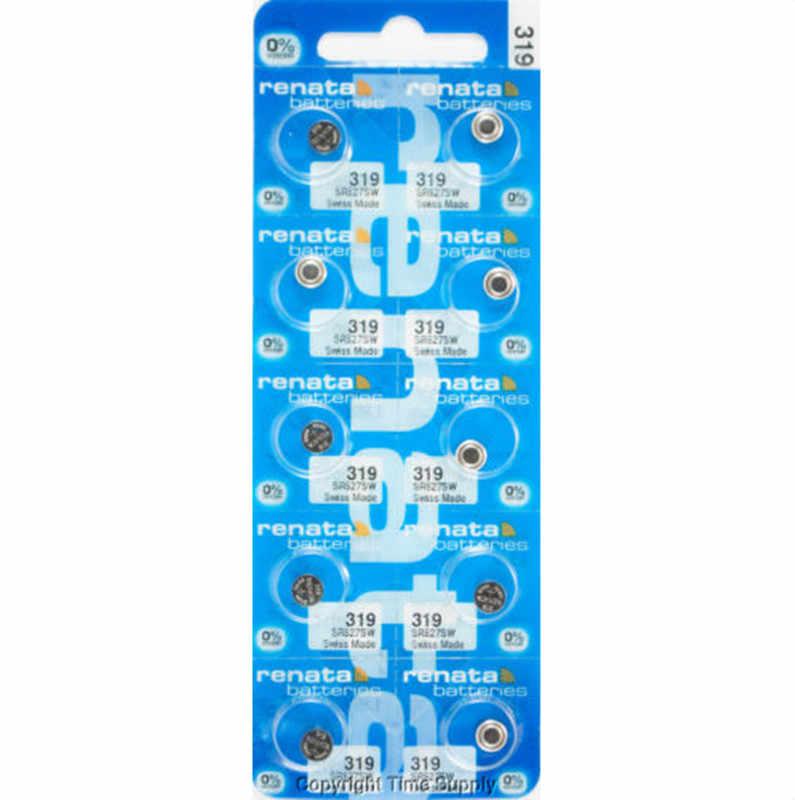 100 ×小売真新しいrenata長続き319 sr527sw SR527 v319時計電池ボタンコイン電池スイスメイド100%オリジナル