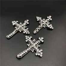 6pc Crystal Beaded Cross Patch 3d Badge Applique Patches For Clothing Bags Parches Bordados Ropa Sewing Accessories DIY AC0872