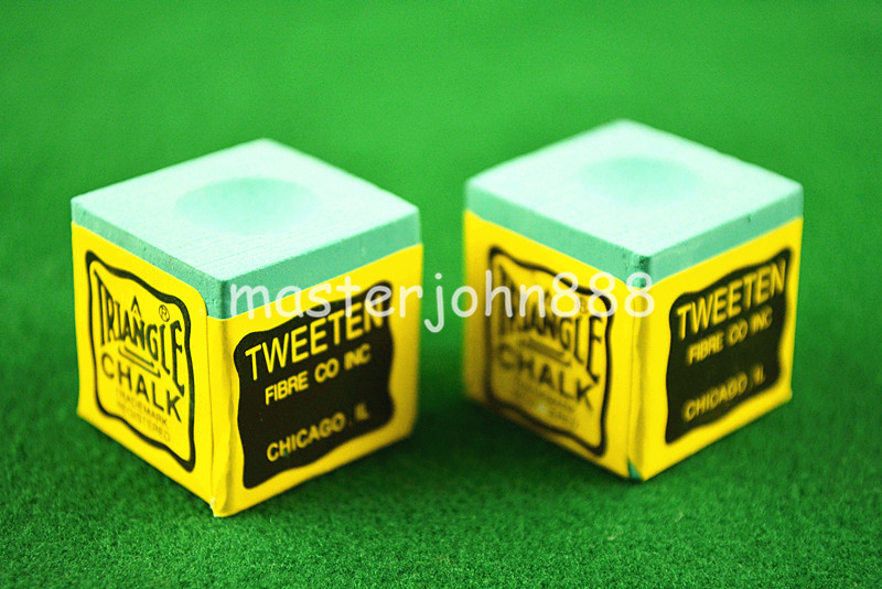 2PCS OF TRIANGLE MASTER Pool Billiard Snooker Kalk Cubes Kridt Grøn / Blå / Rød Gratis Levering