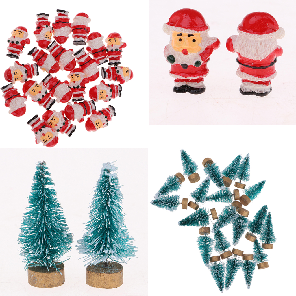 Lots 20pcs Dollhouse Miniature 2.2cm Santa Claus Model, 20pcs 4cm Christmas Tree, Christmas Decorations & Photography Props illustration