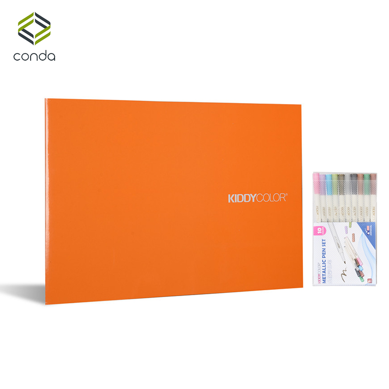 Conda 12x16 8K A3 Landscape Sketch Book 200gsm 20-Sheet Textured Vintage Black Cardboard Notebook With Crayons Metallic Pen inov 8 кроссовки x talon 200 8 black red yellow