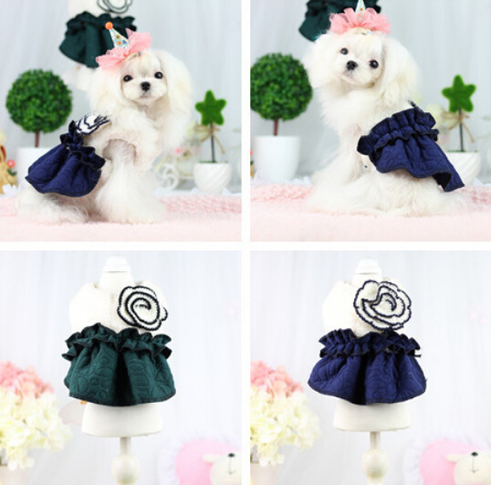 1pcs pet dog cat lovely flower princess dress doggy warm soft hoodies puppy Noble party jackets costume dogs overcoat clothing