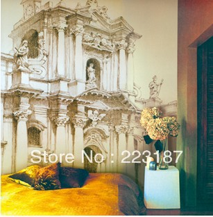 art Mural Renaissance style building large personality head of a bed bedroom wallpaper vintage Tv sofa background wall stickers old mural art