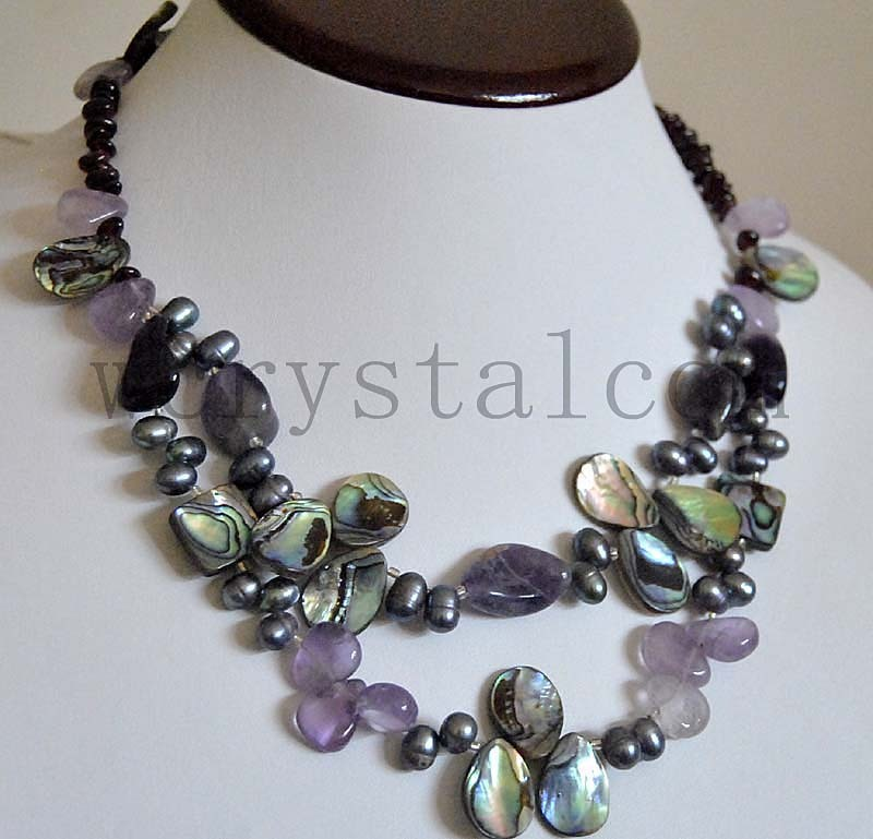 Natural Amethysts Abalone Shell Garnets Black Pearl Necklace