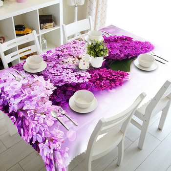 Senisaihon 3D מפת שולחן סגול לילך פרחי דפוס פוליאסטר Dustproof בד שולחן ארוחת ערב חג המולד קישוט שולחן כיסוי