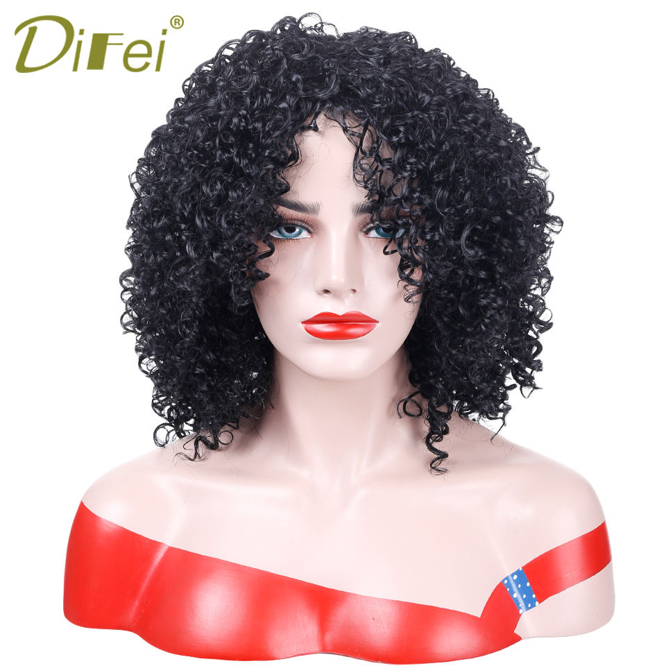 DIFEI HAIR Short Black Afro Kinky Curly Wig For Women African American Wigs Synthetic Short Kinky Heat Resistant Fiber Hair