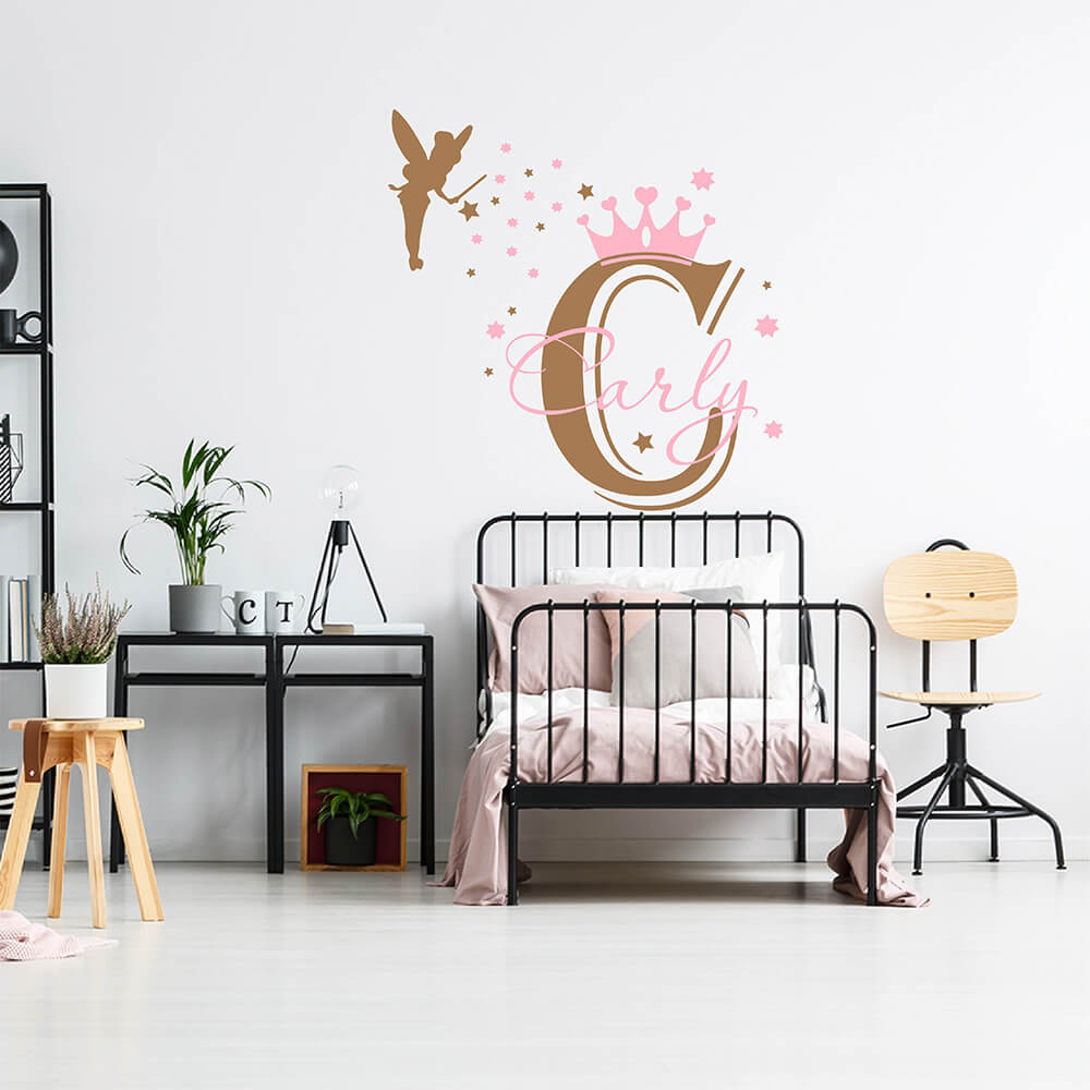 Girls Name with Princess Crown and Fairy Wall Sticker Girls Name with Princess Crown and Fairy Wall Decal for Nursery 842C