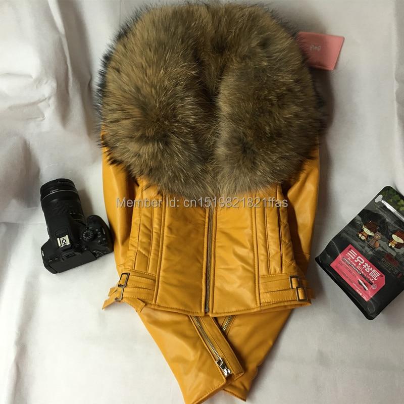 Fabryka mody w nowym stylu kurtka z prawdziwej skóry z duże jenot z wełny kobiet skóra owcza prawdziwe płaszcz skórzany dla kobiet w Skóra i zamsz od Odzież damska na  Grupa 2