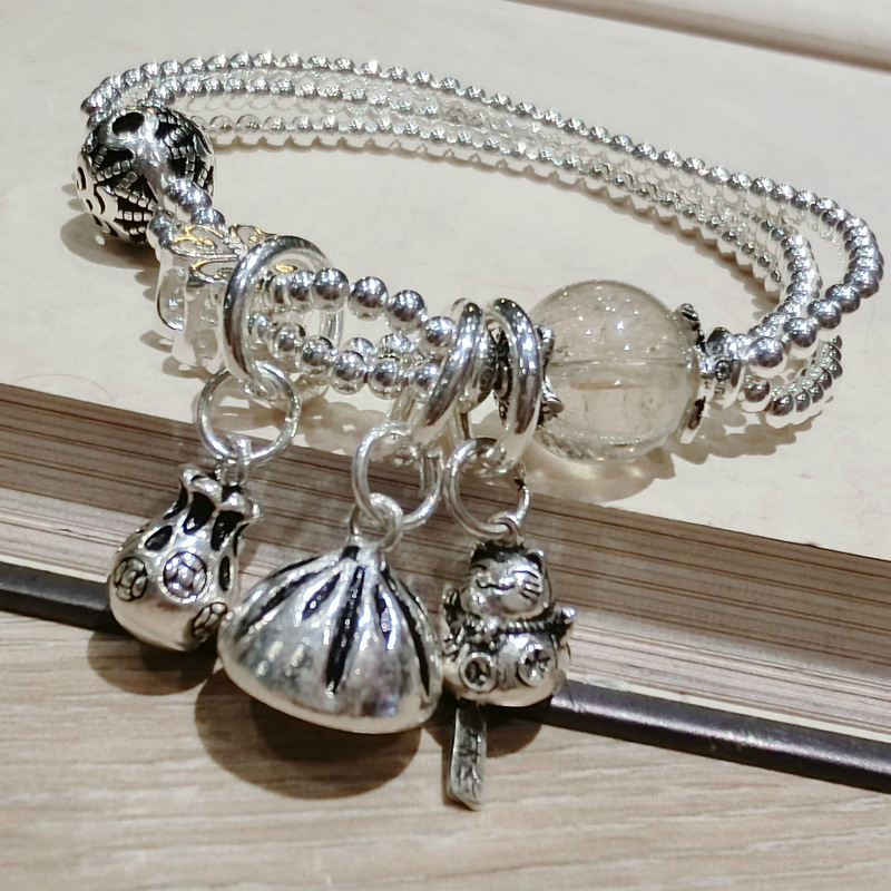 925 sterling silver bracelet custom plutus cat natural stone crystal beaded jewelry DIY manual crafts gifts925 sterling silver bracelet custom plutus cat natural stone crystal beaded jewelry DIY manual crafts gifts