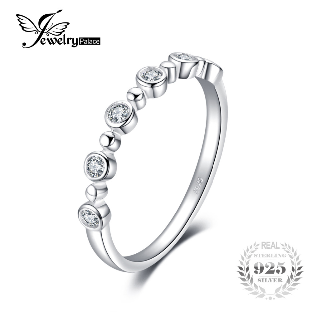 JewelryPalace Cubic Zirconia Wedding Band Eternity Ring For Women Real 925 Sterling Silver Jewelry For Women Wedding Ring Gift