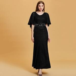 Image 5 - Dressv dark navy long evening dress cheap scoop neck beading wedding party formal dress embroidery mermaid evening dresses