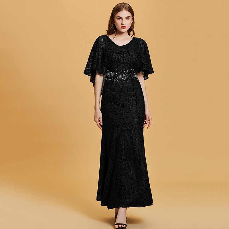 Dressv dark navy lungo abito da sera a buon mercato scoop neck perline da sposa del partito del vestito convenzionale del ricamo della sirena abiti da sera