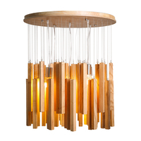 Nordic Wood LED Pendant Light Romantic Meteor Shower Pendant Lamp Chime Round Wooden Suspended For Parlor Pendant Lamp PA0467