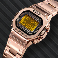 Women Digital Watch Luxury Casual Stainless Steel Strap Watch Ladies Countdown Alarm 12/24 Hour Clock Female Reloj Mujer SKMEI
