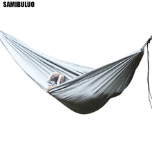 Ultralight Parachute Camping Hammock Nylon Folding Swing With 2 Tree Straps Double Hamak Ogrodowy acehmks hammock with tree ropes portable ultralight parachute nylon camping hammock swings outdoor 270x140 cm with 600 cm ropes