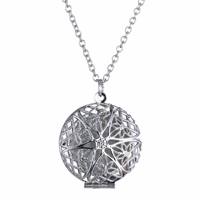 be0e22b09a41d US $2.27 40% OFF|Fashion Openable Silver Magical Vintage Blue Light Round  Mystery Necklace Glow in the Dark Pendant Necklace For Women Jewelry-in ...