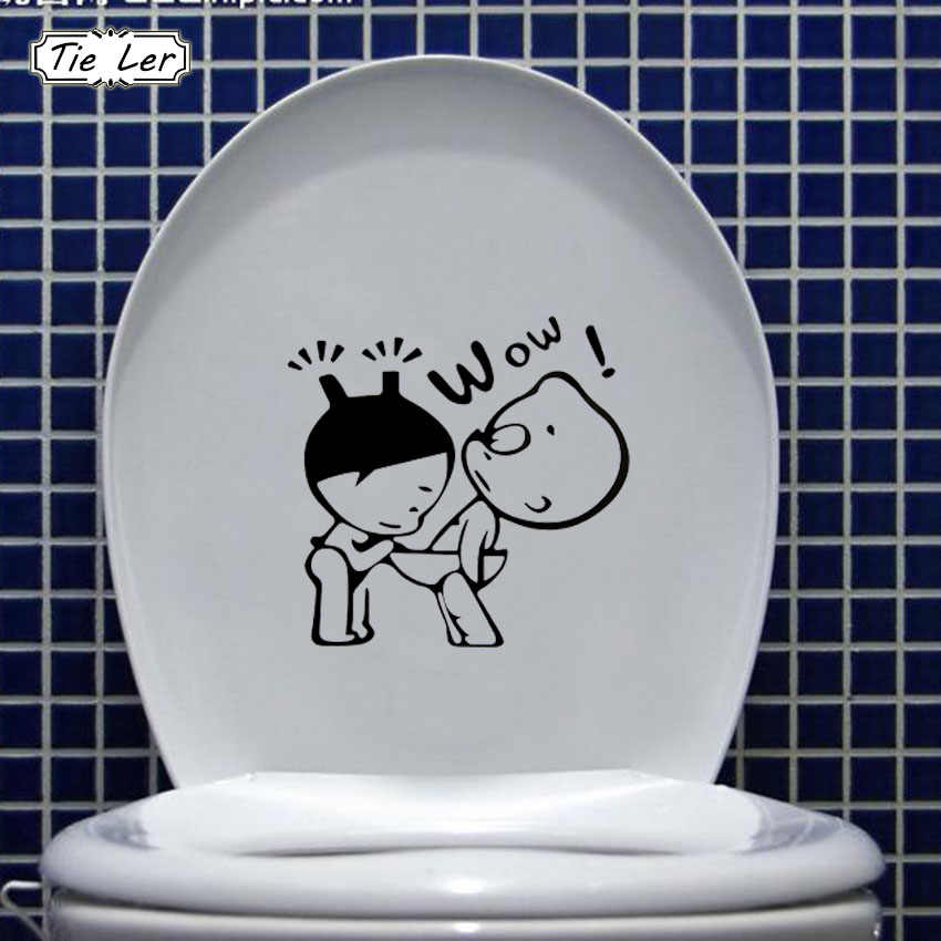 Funny Bathroom Decor Home Decoration Creative Toilet Stickers For WC Kids Room 3D Wall Sticker On The Toilet Wall Decals