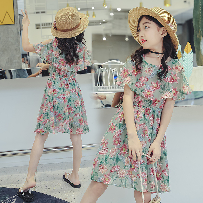 Women Floral Chiffon Gown Kids Summer season Off Shoulder Seashore Clothes Youngsters 2019 New Trend Informal Princess Clothes 5-14 Years Clothes, Low-cost Clothes, Women Floral Chiffon Gown Kids Summer...