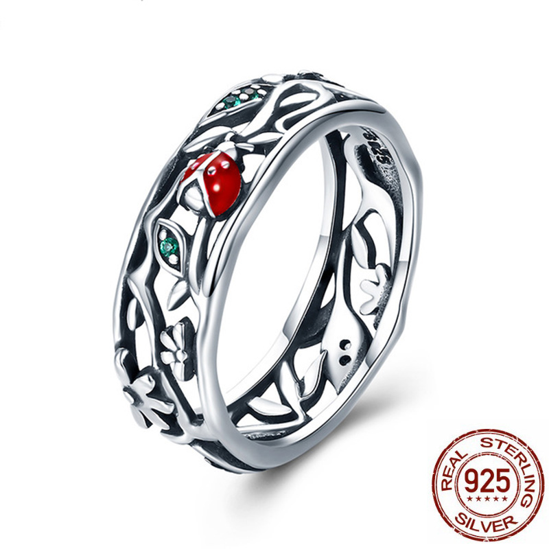 Pure 925 Sterling Silver Fantasy Ladybug Ring For Women Ladybug with Twisted Tree Leaves Female Fashion Jewelry Best Gifts