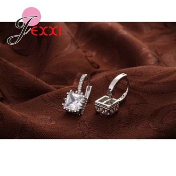 Real   Silver Huggie Lever Back Earrings Luxury Shiny 2 Carat CZ Crystal Cubic Zircon Hot Sale Women Jewelry 4