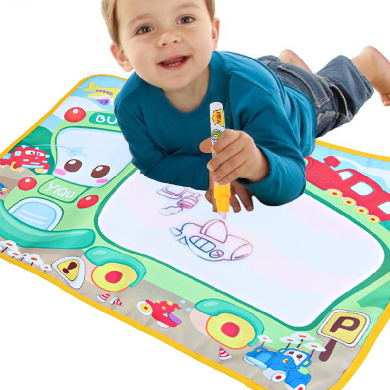 Magic Water Drawing Canvas Blanket Baby Writing Painting Doodle Board Play Mat with Graffiti Pen Kids Learning Drawing Toy Gift