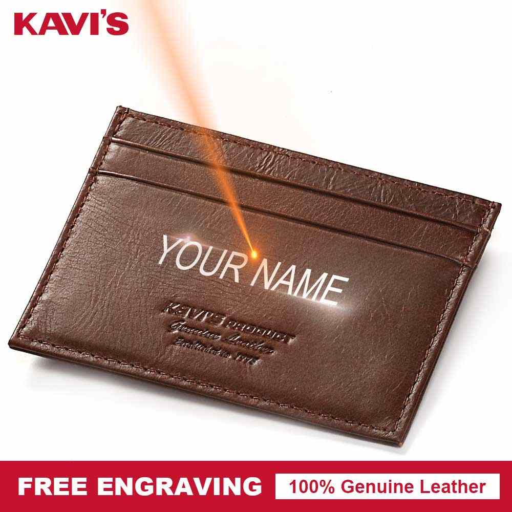 KAVIS Free Engraving Genuine Leather Card Holder Multifunctional Zipper Fashion Men ID Card Wallet Case Coin Purse Thin Mini