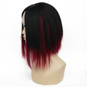 Image 3 - StrongBeauty peluca recta con corte Bob corto para mujer, vino oscuro, mezcla de pelucas completas sintéticas naturales negras