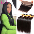 Light Brown Brazilian Straight Hair With Closure 4 Bundles 7a Brazilian Virgin Hair Straight Lace Frontal Closure With Baby Hair