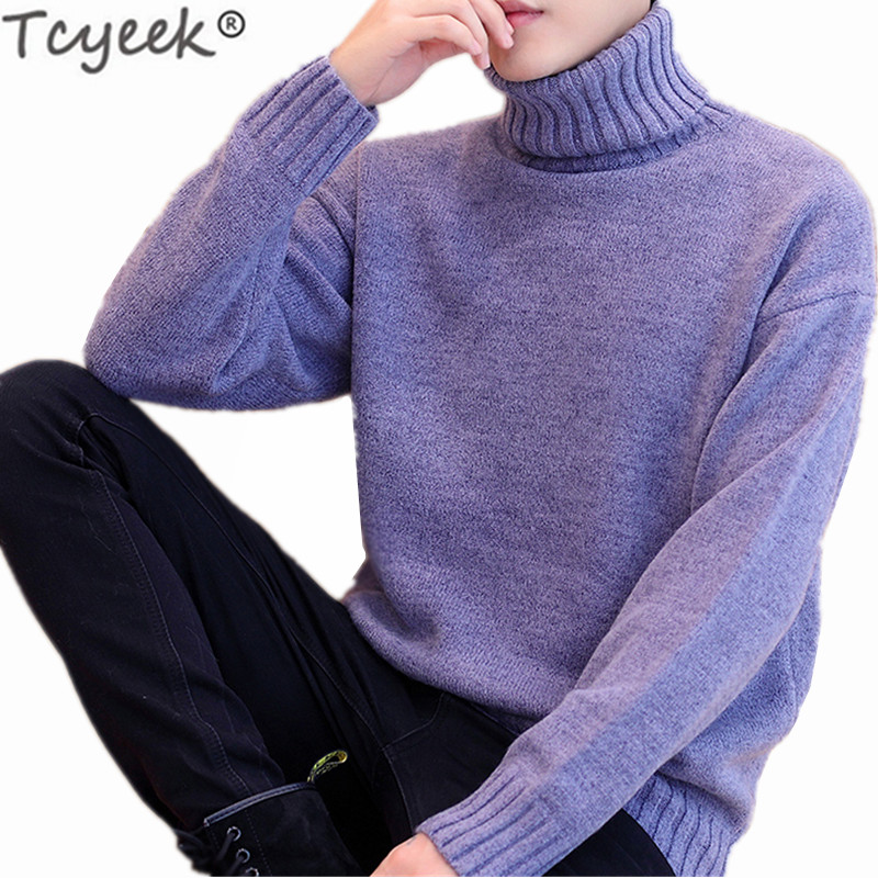 Mens Solid Loose Fit Turtleneck sweater Korean Knitted Winter Thick Casual Tops