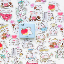 45pcs/pack Creative Cute Baby Hamster Stickers Diy Adhesive Paper Scrapbook Notebook Decoration Sticker Gifts for Kids