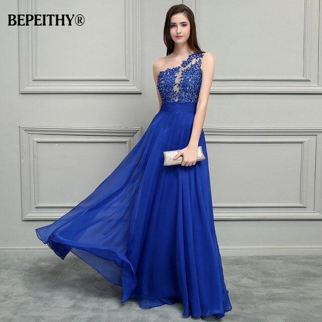 BEPEITHY Royal Blue Chiffon Long Prom Dresses 2019 One Shoulder Lace Vintage Evening Dress Vestidos De Festa 1