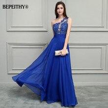 BEPEITHY רויאל בלו שיפון ארוך שמלות נשף 2020 כתף אחת תחרה בציר שמלת ערב Vestidos דה Festa