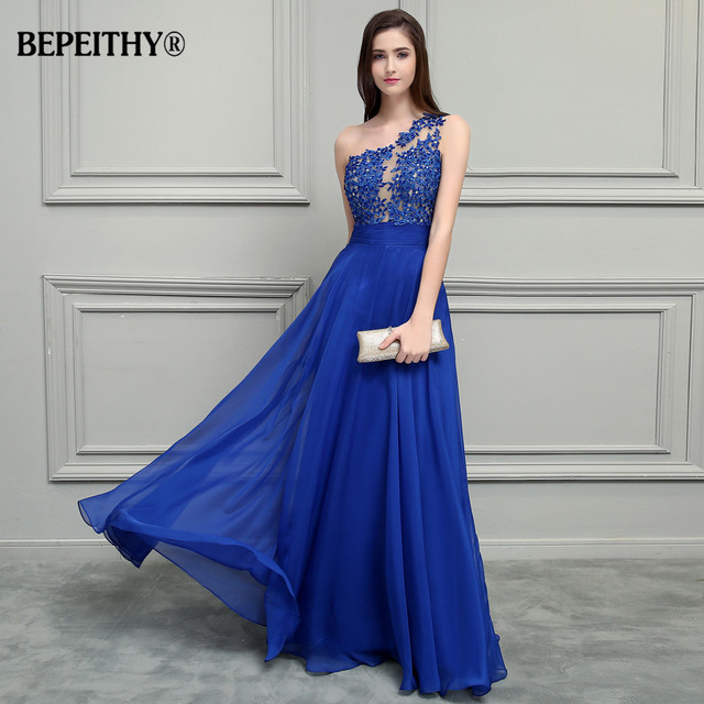 BEPEITHY Royal Blue Chiffon Long Prom Dresses 2018 One Shoulder Lace Vintage Evening Dress Vestidos De Festa