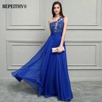 BEPEITHY Royal Blue Chiffon Long Prom Dresses 2017 One Shoulder Lace Vintage Evening Dress Vestidos De