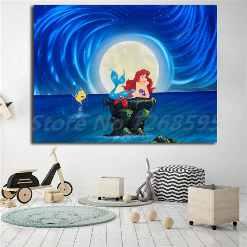 The Little Canvas: The Little Mermaid Wishing Ariel Wall Art Canvas Poster