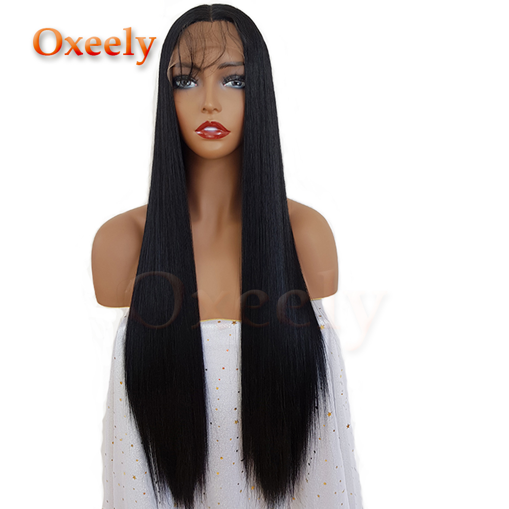 Oxeely Synthetic Lace Front Wig Silky Straight Long Black Wigs with Baby Hair Glueless L ...