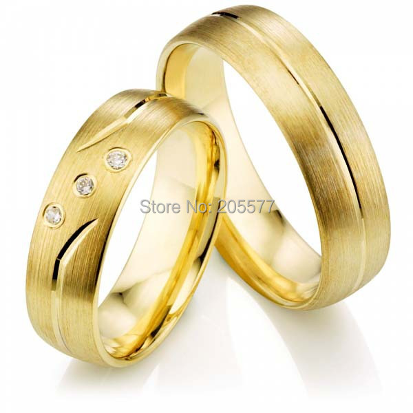 Beautiful New Diesign Western Style High Quality Yellow Gold Plating  Titanium Wedding Rings(China)