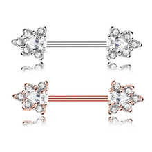 2PCS Stainless Steel Rose Gold Crystal Nipple Bar Barbell Piercing Shield Rings Women Nipple Summer Jewelry Body Piercing
