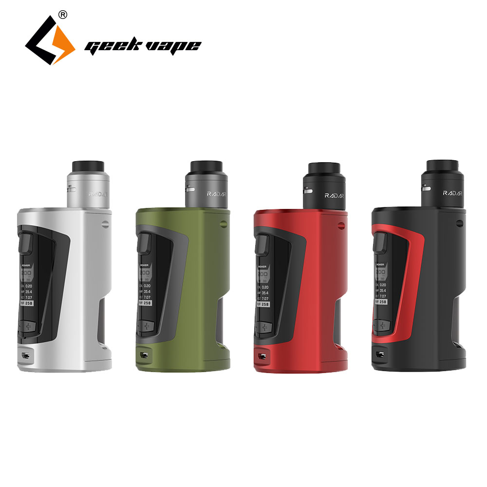 NEW Hot GeekVape GBOX Squonker 200W TC Kit with Radar RDA tank e-cigarette kit 200W with 8ml Squonk bottle for higher capacity hd rda with side adjustable airflow for e cigarette