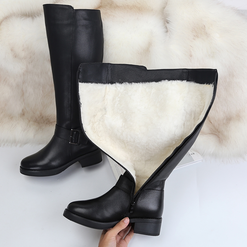 Image 2 - MORAZORA 2019 New genuine leather snow boots women fashion high quality thick fur wool winter boots ladies knee high booties-in Knee-High Boots from Shoes