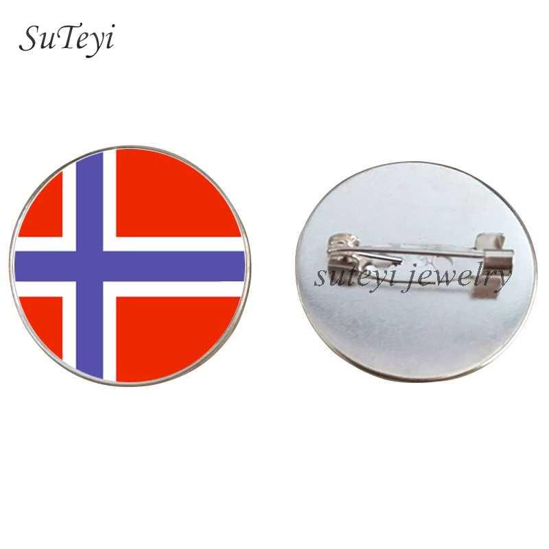 SUTEYI Jugoslawien/Norwegen Flagge Abzeichen Brosche Portugal/Schweden/Schweiz Abzeichen 25MM Glas Bild Pins Broschen Zubehör geschenk