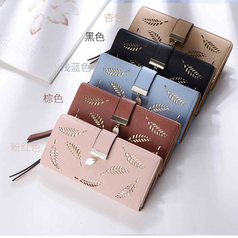 fc831f39b03d Aosbos 2019 Women Wallet Purse Female Long Wallet Gold Hollow Leaves Pouch  Handbag For Women Coin Purse Card Holders Clutch Bag