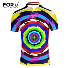 FORUDESIGNS Short Sleeve Casual  Shirt Men Brand Clothes Regular England Style Quick Dry Fashion Colorful Circle Male