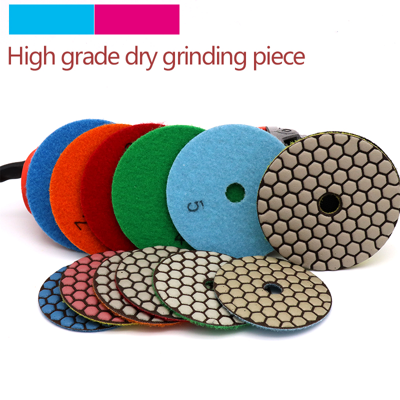 5pcs High Quality Dry Grinding Disc Polishing Buffing Pads + 1pcs stick for Granite Marble Stone Concrete Floor Air Sander Tools